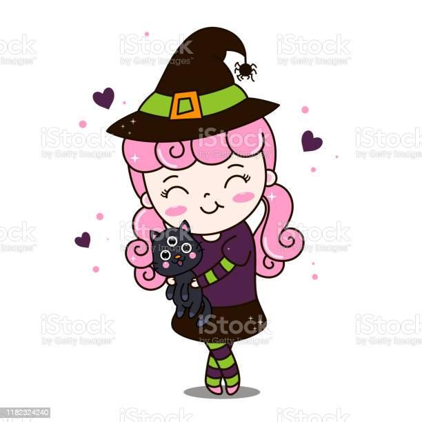 Cute halloween witch hug black cat vector illustration of charming vector id1182324240?b=1&k=6&m=1182324240&s=612x612&h=yqe77d3 rdkmqaq1xwosyabpp3yzfiiahbmnbjx49 q=