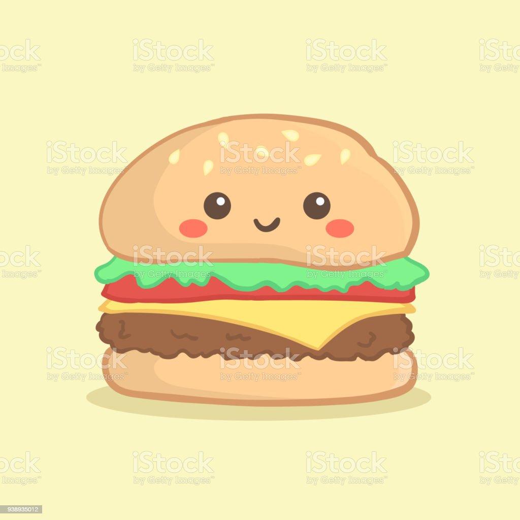 かわいいハンバーガー バーガー ベクトルの漫画 イラストレーションの