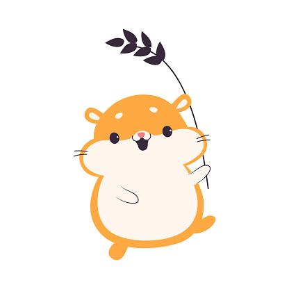 Cute Hamster Carrying Wheat Ear, Adorable Pet Animal Character Cartoon Vector Illustration