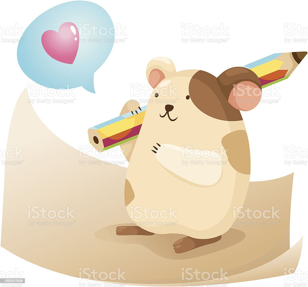 cute hamster with note paper royalty-free stock vector art