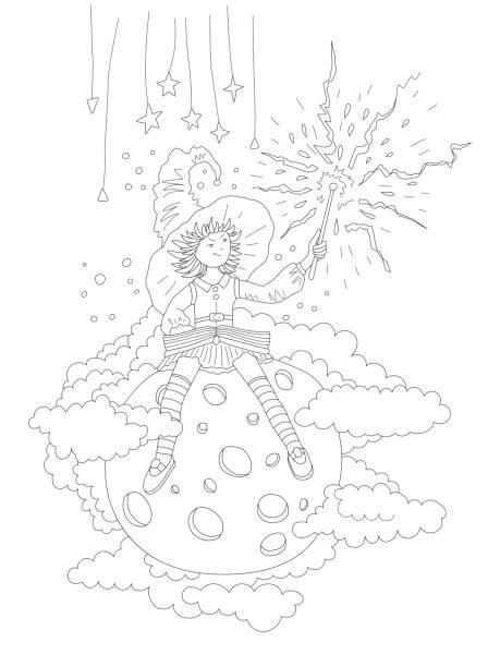 bildbanksillustrationer, clip art samt tecknat material och ikoner med söt hand rita målar bok med fairy flicka som sitter på månen och har en troll stav, omgiven av moln och stjärnor. flicka i häx hatt, kjol och långa strumpor. magiska målar bok - sparkle teen girl