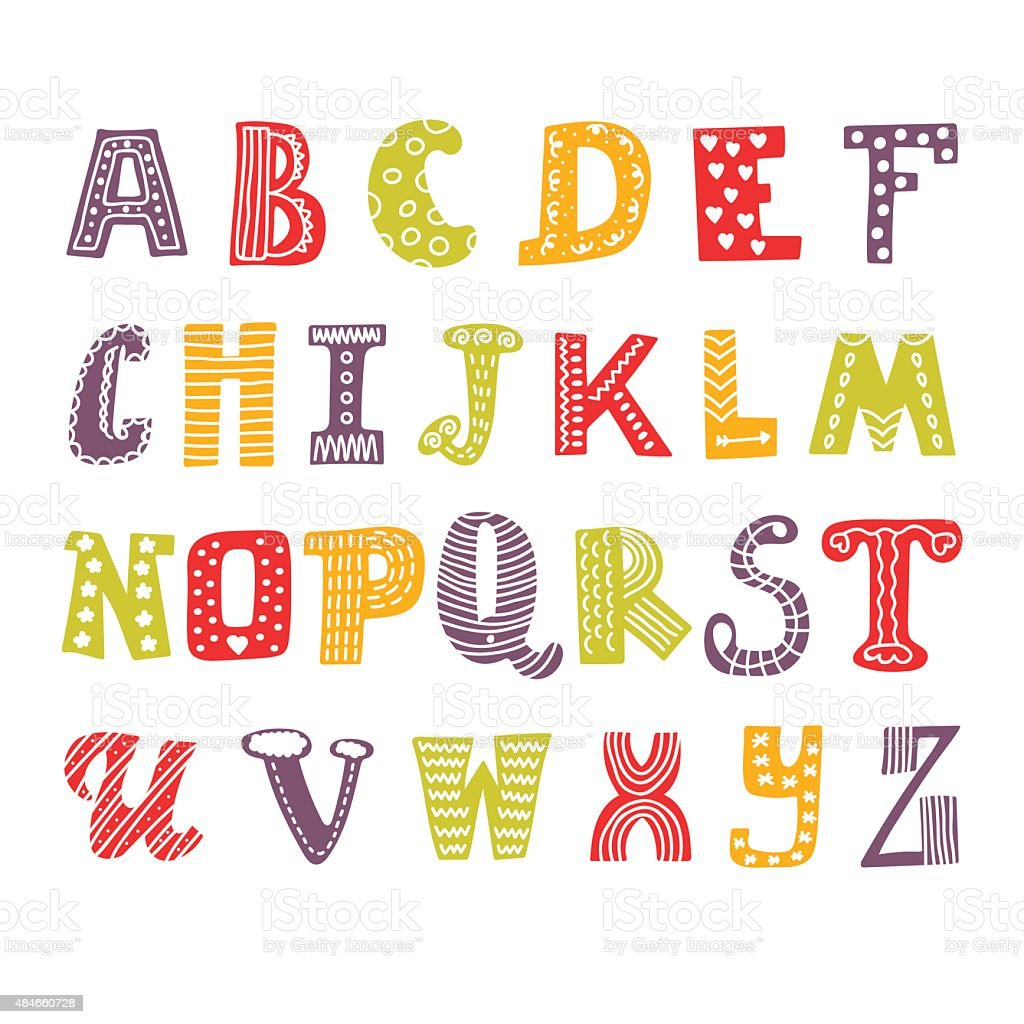 Cute Hand Drawing Alphabet Funny Font Drawn Design Royalty Free