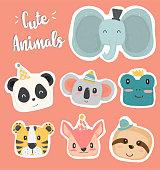 cute hand drawing animal head clipaart icon in pastel color collection, set of wild animal lion, giraft, monkey, raccoon, rabbit, owl, penguin, fox and hippo