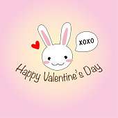 Cute hand drawing cartoon rabbit or bunny saying xoxo with mini red heart and Happy Valentine's day text on pastel pink color background vector and illustration