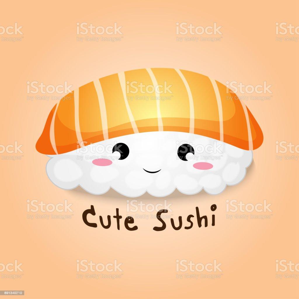 かわいい手書き漫画ベクトルとイラストかわいい鮭飯寿司または刺身