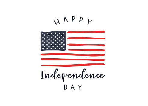 Cute hand drawn 4th of July design, lovely doodles, great for invitations, banners, wallpapers, cover image - vector design