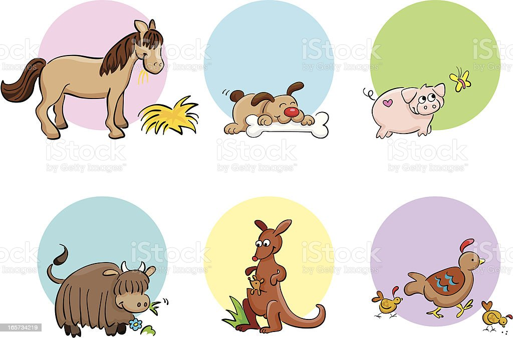 Cute hand drawn animals set royalty-free stock vector art