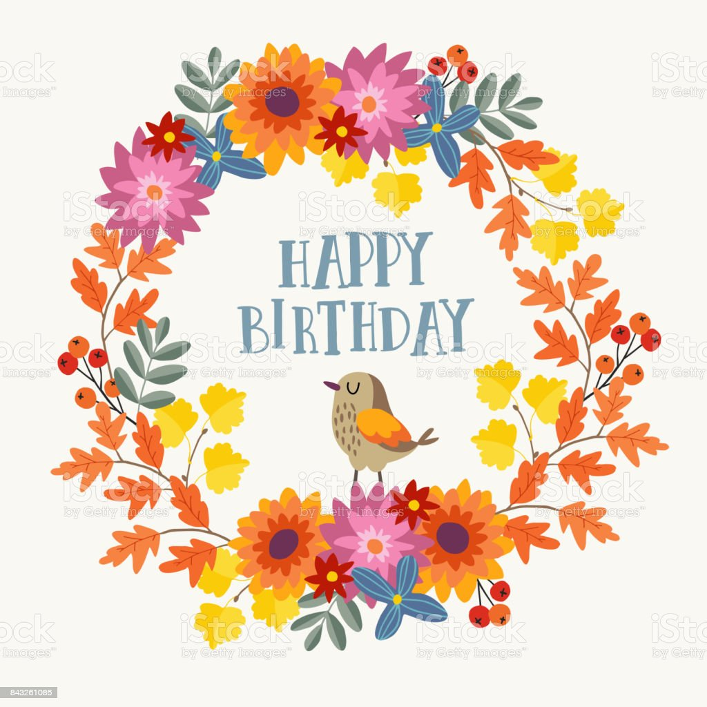 Cute Hand Drawn Autumn Birthday Greeting Card Invitation With Bird ...