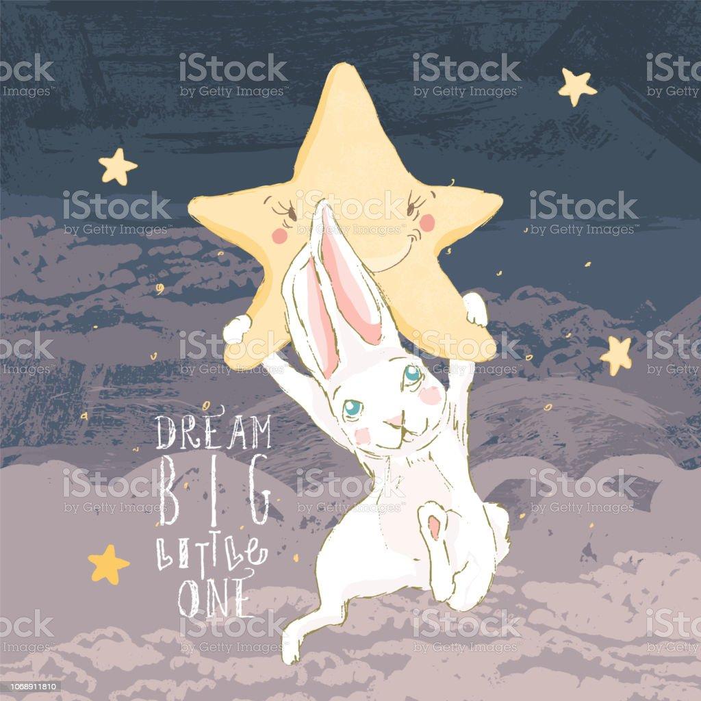 Niedliche Hand Gezeichnete Baby Hase Mit Einem Nachtstern Und Wolken