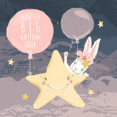Cute hand drawn baby bunny with flowers, balloons, night star and clouds