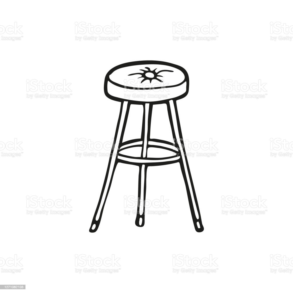 Cute Hand Drawn Bar Stool On A White Background Funny Element In Trendy Doodle Style For Card Social Media Banner Logo Sticker Print Decoration Vector Illustration Stock Download Image Now