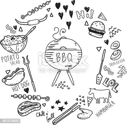 Cute hand drawn barbecue elements set in a circle