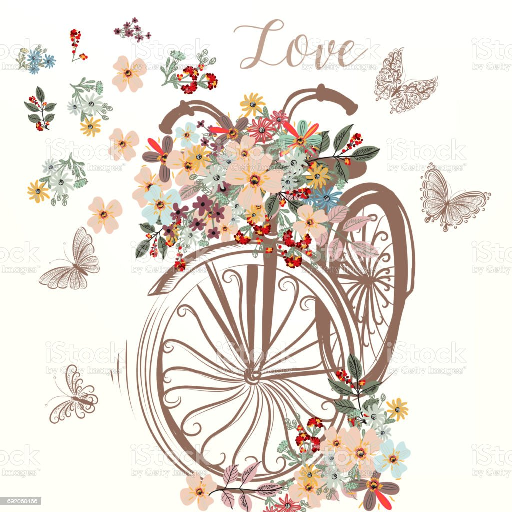 cute hand drawn bicycle with bunch of spring flowers stock vector