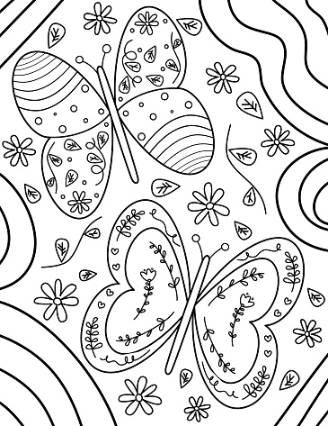 Cute hand drawn black and white butterflies, flowers and leaves vector illustration for coloring art for adult and children