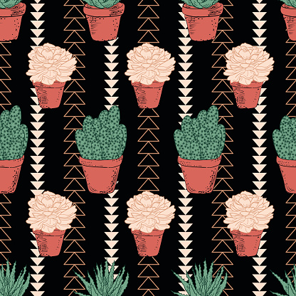Cute Hand Drawn Cactus Background