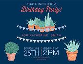 Cute Hand Drawn Cactus Party Invitation