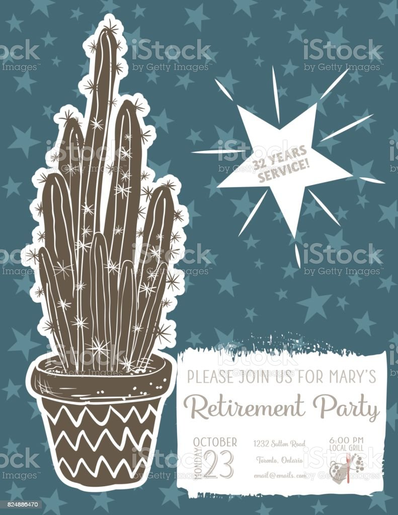 Cute hand drawn cactus retirement party invitation template stock cute hand drawn cactus retirement party invitation template royalty free cute hand drawn cactus retirement stopboris Image collections