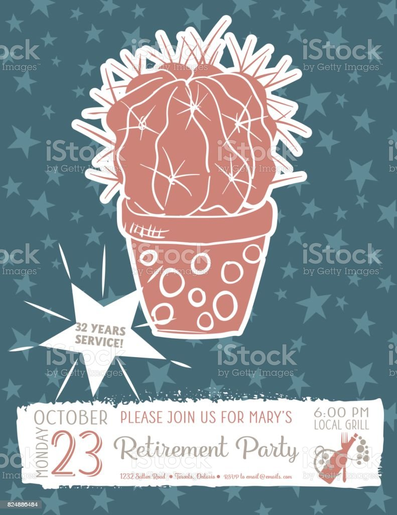 cute hand drawn cactus retirement party invitation template royalty free cute hand drawn cactus retirement