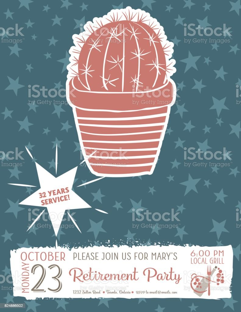 cute hand drawn cactus retirement party invitation template stock