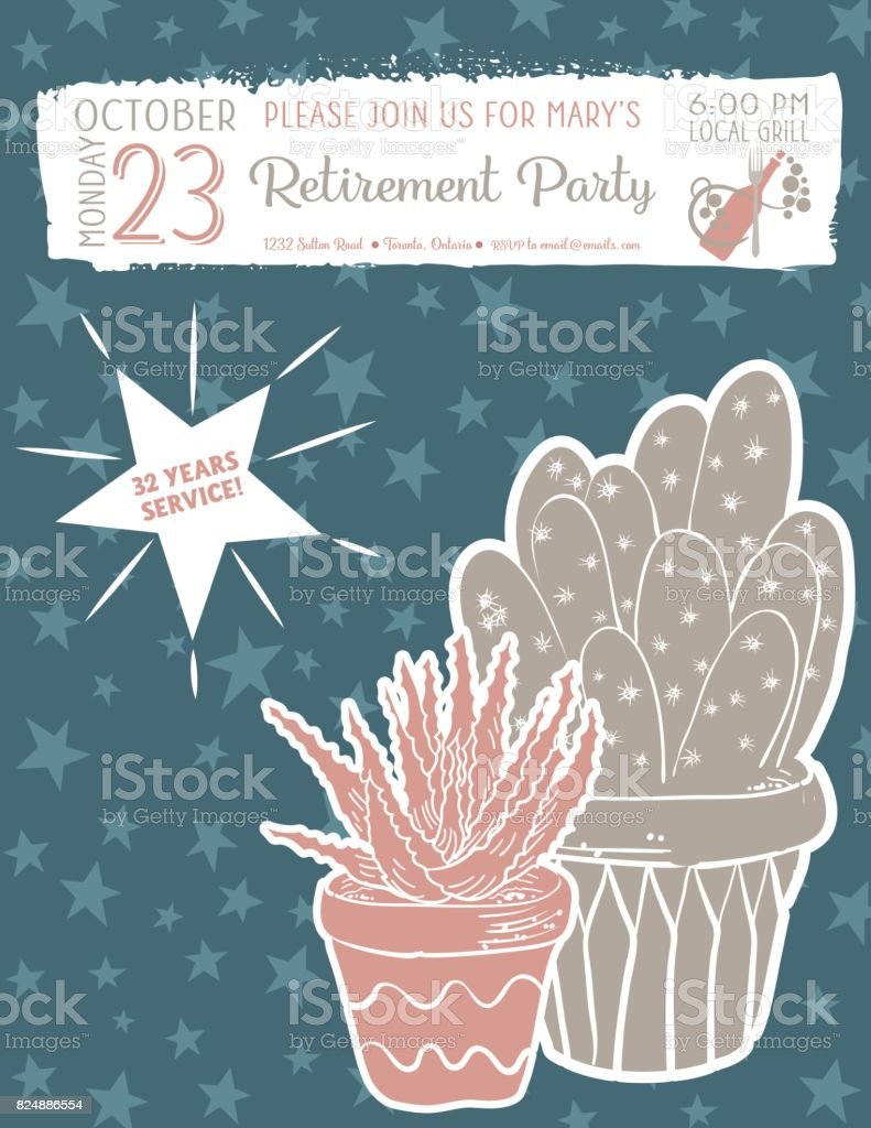Cute Hand Drawn Cactus Retirement Party Invitation Template Stock ...