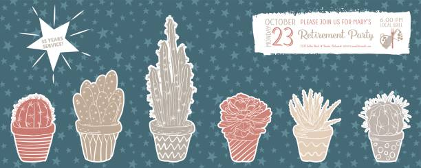 Royalty free retirement party invitation clip art vector images cute hand drawn cactus retirement party invitation template vector art illustration stopboris Gallery