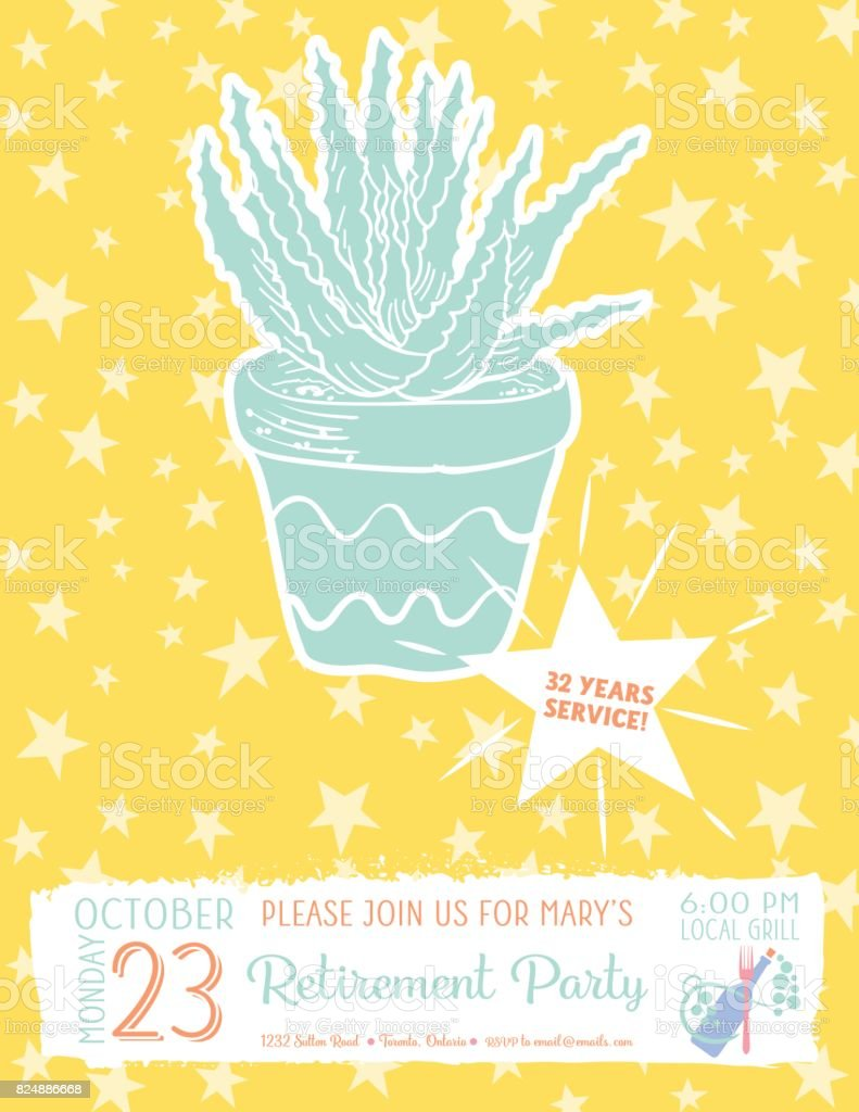 Cute hand drawn cactus retirement party invitation template stock cute hand drawn cactus retirement party invitation template royalty free cute hand drawn cactus retirement stopboris Images