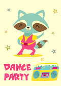 Cute hand drawn card or poster with cartoon raccoon in retro style. Vector illustration with text.