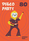 Cute hand drawn card or poster with cartoon sloth in retro style. Vector illustration with text.