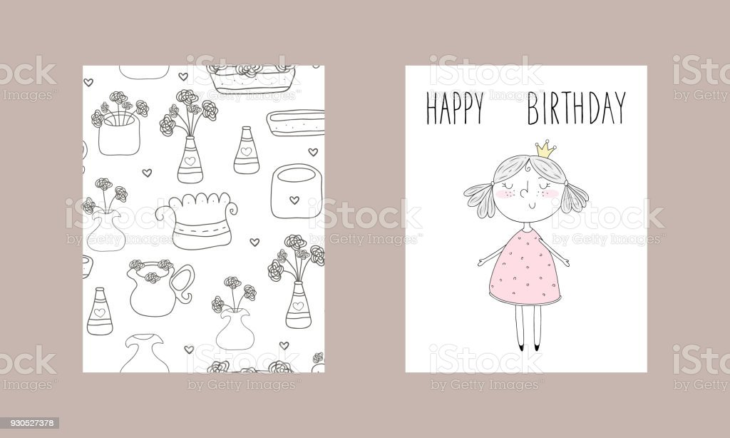 cute hand drawn card with cute little girl printable template royalty free cute hand