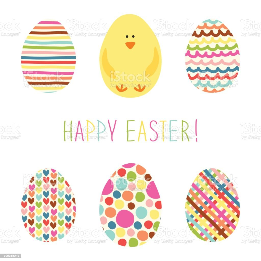 Cute hand drawn card with Easter eggs and hand written text vector art illustration