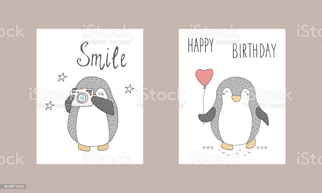 graphic about Printable Penguins identify Lovable Hand Drawn Card With Penguins Printable Templates Inventory