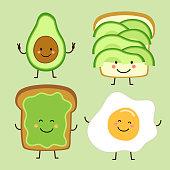 istock Cute hand drawn cartoon characters of avocado and toast 1126074506