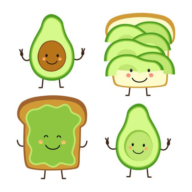 Cute hand drawn cartoon characters of avocado and toast Cute hand drawn cartoon characters of avocado and toast for your decoration avocado stock illustrations