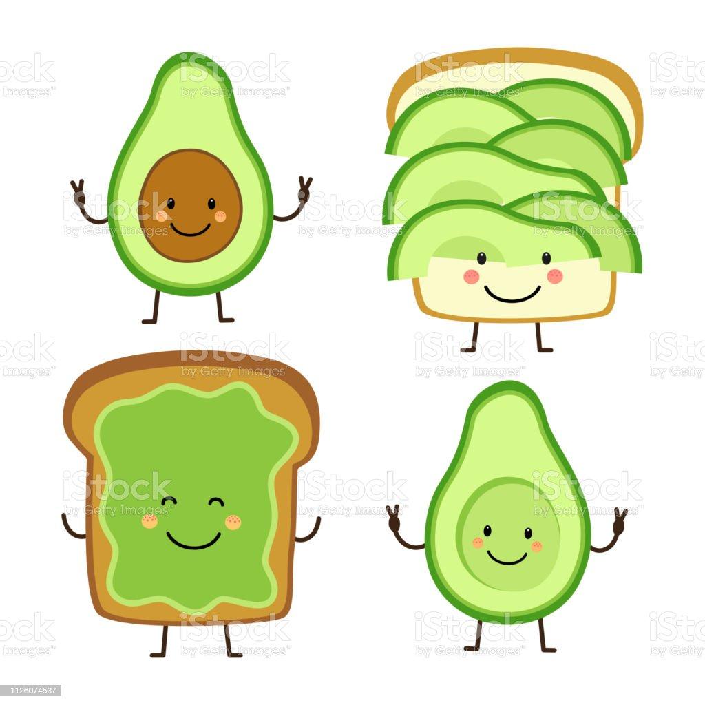 Cute hand drawn cartoon characters of avocado and toast vector art illustration