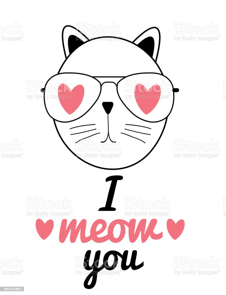 Cute Hand Drawn Cat Vector Illustration. I Love You Concept vector art illustration