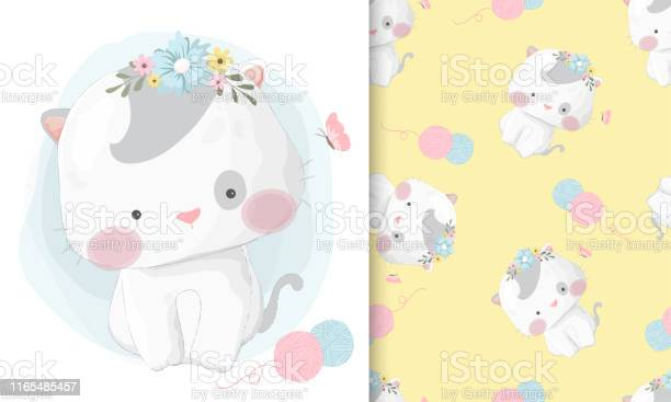 Cute hand drawn cat with seamless pattern set vector id1165485457?b=1&k=6&m=1165485457&s=612x612&h=jrrfxntfran0ysazr518djbazt0bpdcuvsoergskgb8=