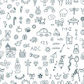 Cute hand drawn children drawings seamless pattern. Doodle children drawing background. Vector illustration