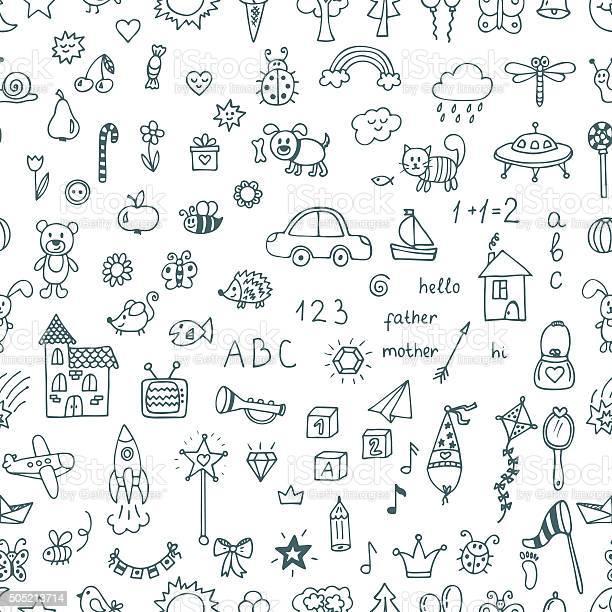 Cute hand drawn children drawings seamless pattern doodle vector id505213714?b=1&k=6&m=505213714&s=612x612&h=7yjojtev4tibqy1n5 dair w6w76ftoez2zzjg3dkoy=