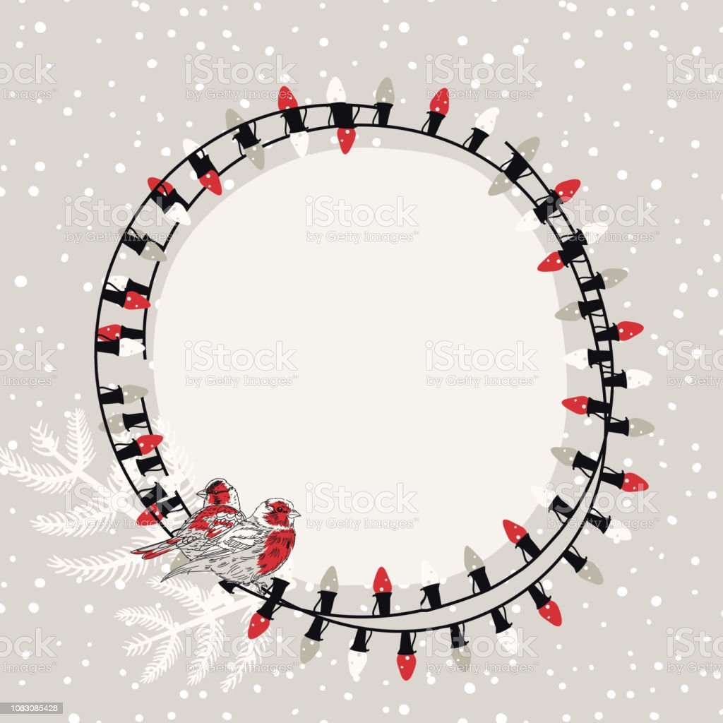 Cute Hand Drawn Christmas Lights Background Stock