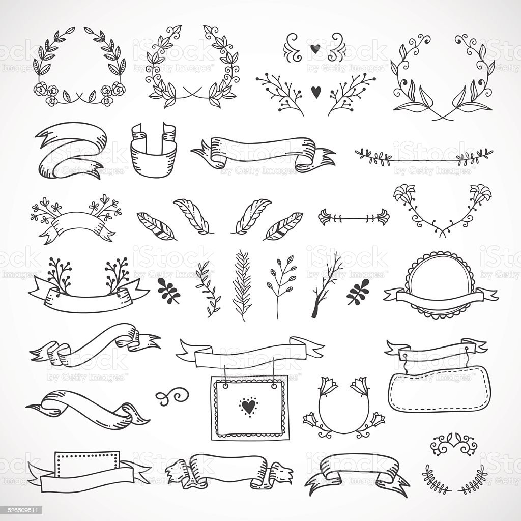 cute hand drawn design elements flowers wreaths banners ribbons