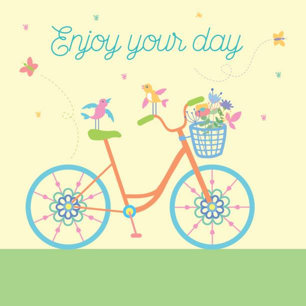 cute hand drawn doodle bicycle vector illustration - lustige fahrrad stock-grafiken, -clipart, -cartoons und -symbole