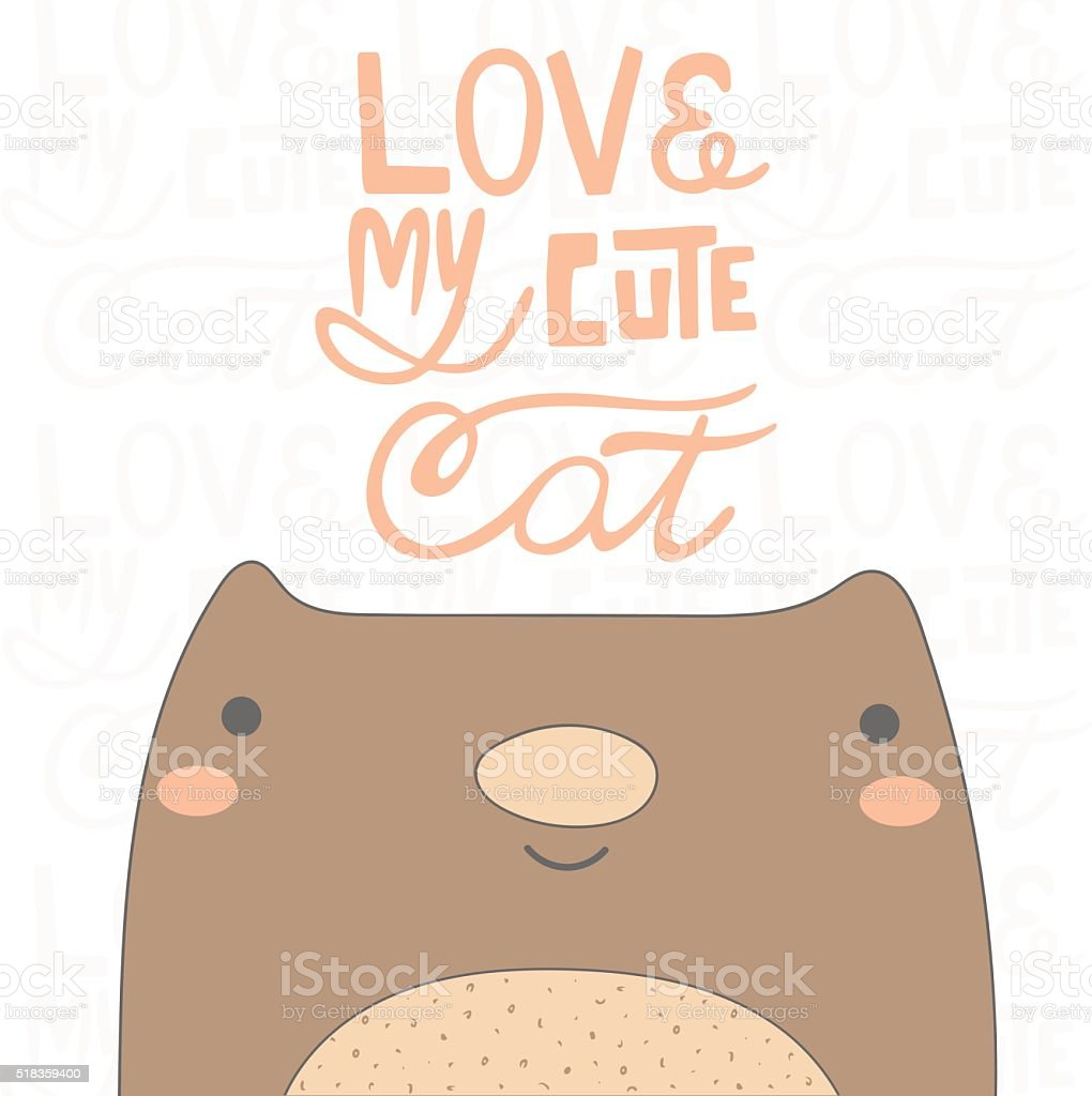 Cute hand drawn doodle cat vector art illustration
