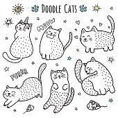 Cute hand drawn doodle cats. Funny kittens collection. Vector illustration