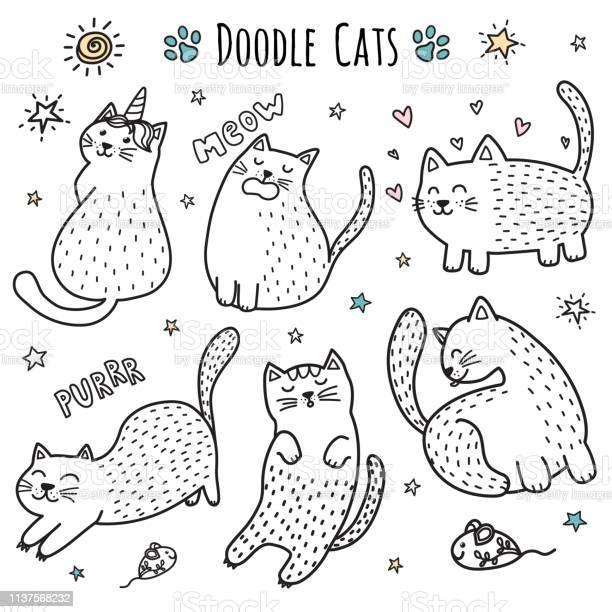 Cute hand drawn doodle cats funny kittens collection vector id1137568232?b=1&k=6&m=1137568232&s=612x612&h=j2wuji0629rt yajvw0gijv2ttbogpdc8jr58tems5c=