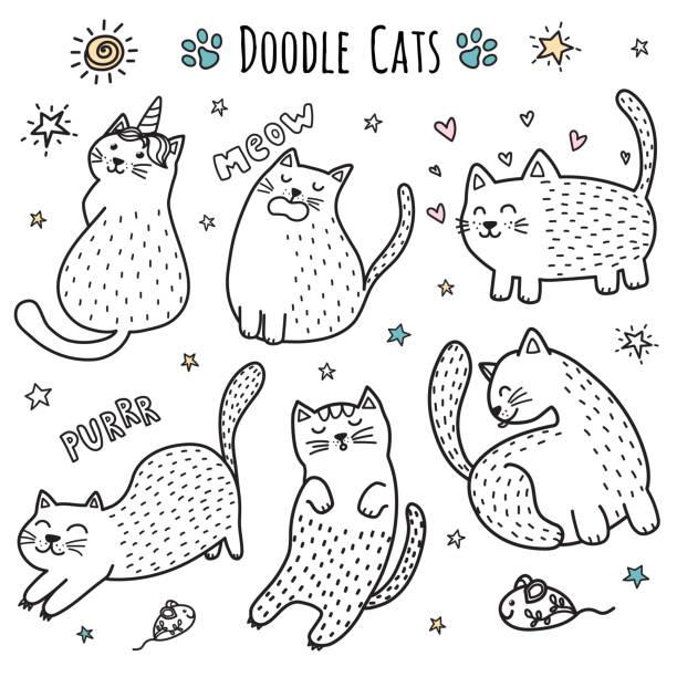 stockillustraties, clipart, cartoons en iconen met schattige hand getrokken doodle katten. funny kittens collectie - miauwen