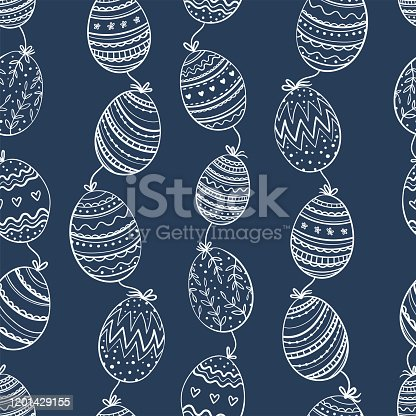 istock Cute hand drawn doodle easter eggs seamless pattern, colorful background, great for textiles, banners, wallpapers, easter cards and wrapping - vector design 1201429155