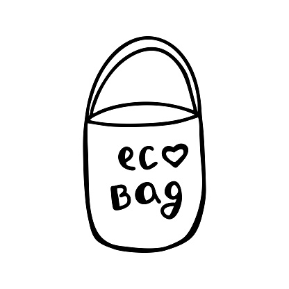 Cute hand drawn doodle eco bag. Isolated on white background. Vector stock illustration.