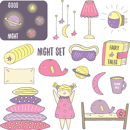 Cute hand drawn doodle night, sleep theme objects collection