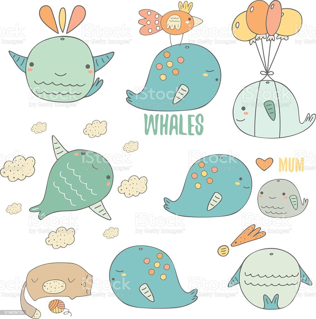 Cute hand drawn doodle whales collection vector art illustration