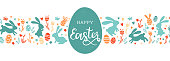 istock Cute hand drawn easter bunnies design, easter doodle background, great for textiles, banners, wallpapers, wrapping - vector design 1204406306